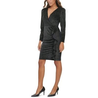 カルバンクライン ワンピース トップス レディース Glitter Velvet Ruffle-Trim Dress Black Multi