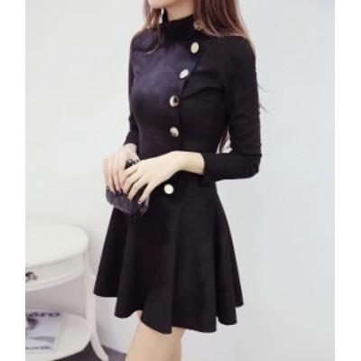 ワンピース ミニ丈 黒 長袖 お呼ばれ きれいめ 可愛い 秋物 冬物 最新 レディース ファッション 2020 人気 可愛い 大人