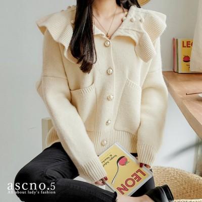 トップス ジャケット カーディガン 花 ビックカーラー カーラー かわいい ニット 個性的 秋 冬 韓国 韓国ファッション