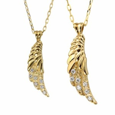 フェザー ペアネックレス シンプル 18金 ダイヤモンド 羽 K18 ゴールド 羽根 ペンダント シンプル 2本セット ペア ネックレス オリジナル