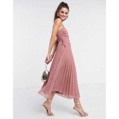 エイソス レディース ワンピース トップス ASOS DESIGN pleated dobby midi dress with drawstring details in tea rose Tea rose