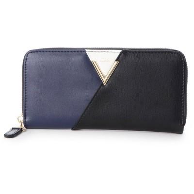 ビバユー VIVAYOU V字金具のワンポイント配色ラウンドジッパー長財布 (ネイビー)
