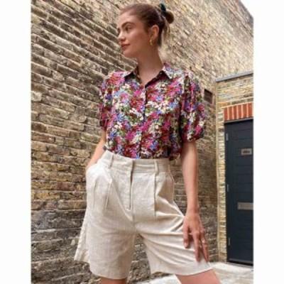 オブジェクト Object レディース ショートパンツ ボトムス・パンツ linen city shorts in beige ベージュ