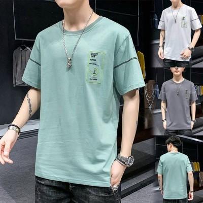 Tシャツ メンズ 半袖 カットソー ルームウェア クルーネック 半袖Tシャツ ティーシャツ カジュアル 夏服 トップス