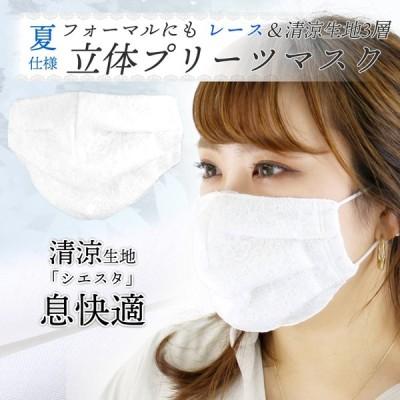 夏マスク おしゃれ 清涼 涼しい 立体プリーツマスク ニットレース 涼感生地使用 3層 洗えるマスク 日本製 レディース フォーマル メール便送料無料