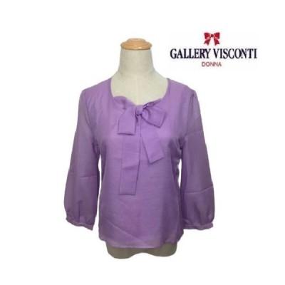 ギャラリービスコンティ 胸元リボン使い フェミニンなカットソー M ビスコンティ2 大人かわいい服