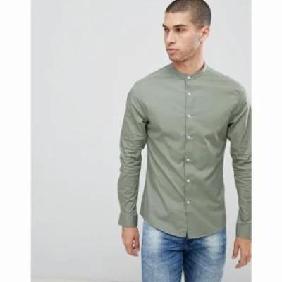 エイソス シャツ skinny shirt with grandad collar in light khaki Light khaki