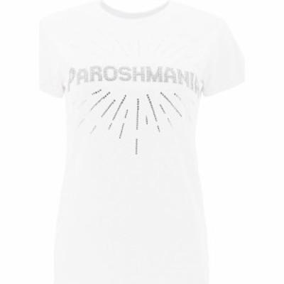 パロッシュ P.A.R.O.S.H. レディース Tシャツ ラインストーン トップス T-Shirt With Rhinestone Paroshmania White