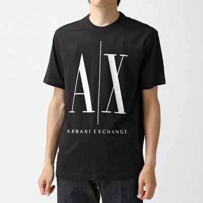 ARMANI EXCHANGE A/X アルマーニ エクスチェンジ 8NZTPA ZJH4Z 1200 クルーネック 半袖 Tシャツ カットソー BLACK メンズ