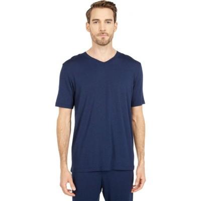 ハンロ Hanro メンズ 半袖シャツ Vネック トップス Casuals Short Sleeve V-Neck Shirt Deep Navy