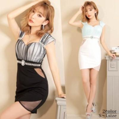 キャバ ドレス バイカラー シアー タイト ミニ ドレス | ドレス キャバ キャバドレス 大きいサイズ ドレス ワンピース ミニドレス セクシ