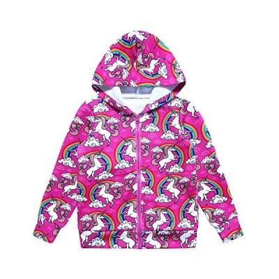 ガールズ ジップアップ パーカー ジャケット ユニコーン/猫 ポケット付き スウェットシャツ US サイズ: 8-9 Years カラー: レッド 並