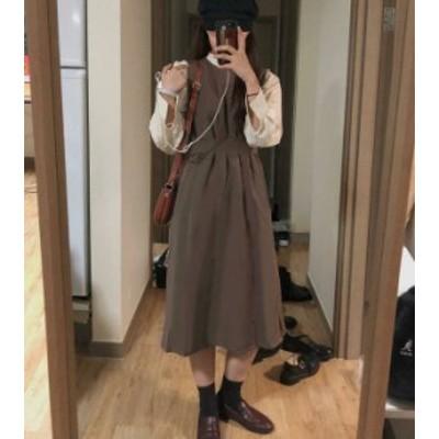 韓国 ファッション レディース ジャンパースカート ワンピース ロング ハイウエスト フレア ノースリーブ カジュアル 大人可愛い レトロ