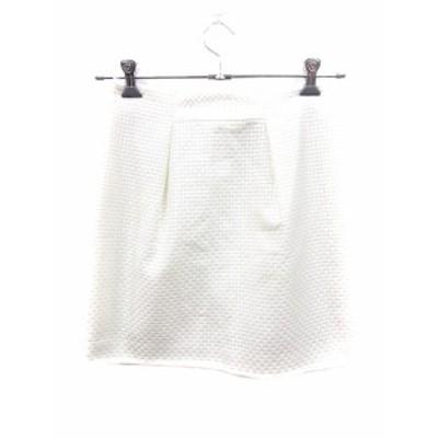 【中古】アンタイトル UNTITLED スカート 台形 ミニ 総柄 2 白 ホワイト /CT レディース