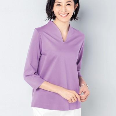 ベルーナ <VINNO>美の艶感コットン100%Tシャツ グレージュ L レディース