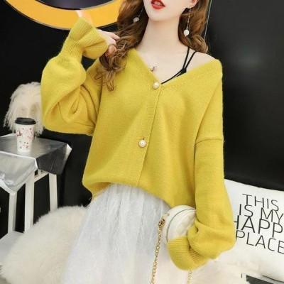 ロータスリーフスリーブパールボタンカーディガンウエスタンスタイル年齢を減らし、ルーズで薄い2020秋/冬新しい韓国のニット女性のセータートレンド