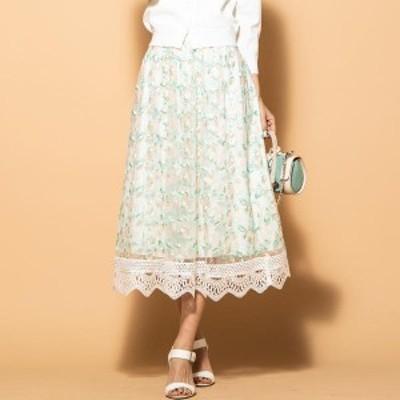 クイーンズコート(QUEENS COURT)/《洗濯機で洗える》裾レースフラワー刺繍チュールスカート