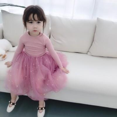 韓国子供服 ワンピース 女の子 新作 ファッション お姫様 プリント柄 スウィート ドレス 韓国風 可愛い チュール オシャレ コンビネーシ