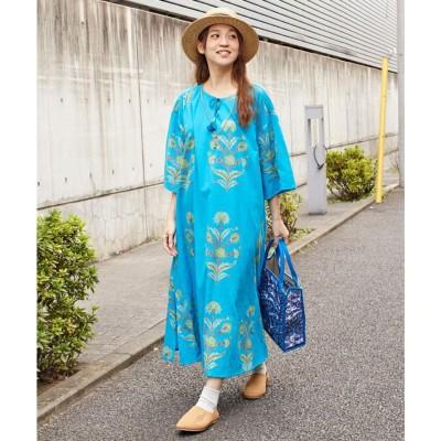 【チャイハネ】ブロックプリント リモーネワンピース ブルー