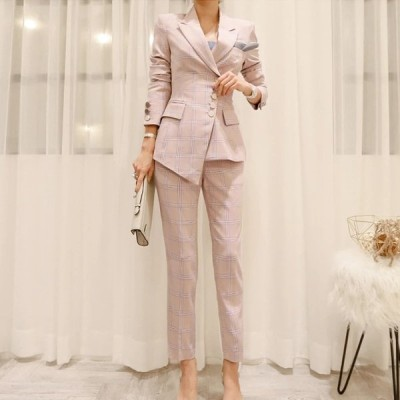 ファッションチェック柄不規則な女性のスーツシングルブレストスリムパンツスーツノッチブレザージャケットとペンシルパンツレディ2ピースセット