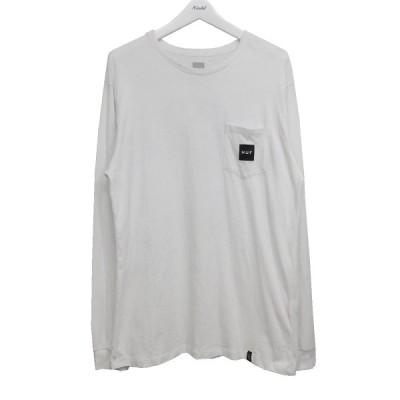 HUF BOX LOGO POCKET L/S TEE 胸ポケットTシャツ ホワイト サイズ:L (池袋店) 200717