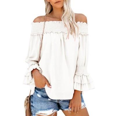 レディース 衣類 トップス Womens Ruffle Off Shoulder Blouse T Shirt ブラウス&シャツ