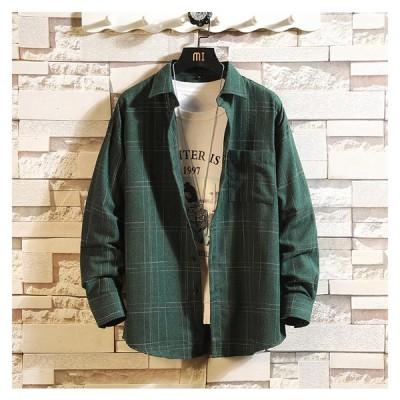 メンズ チェックシャツ 大人シャツ カジュアル ネルシャツ 長袖 定番 ベーシック シンプル コーデ オーバーサイズ  ゆったり