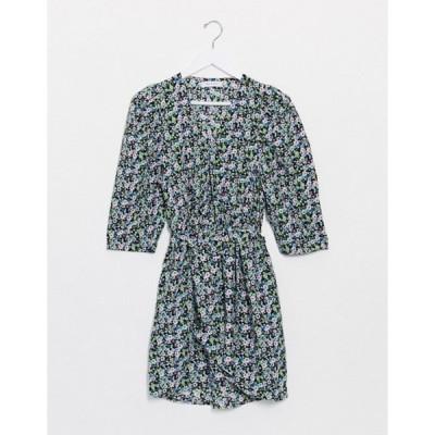 オンリー レディース ワンピース トップス Only mini dress with belted waist in mixed ditsy floral