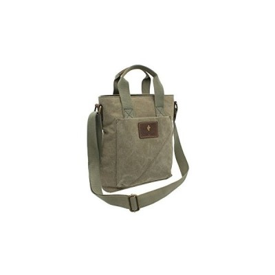 CACTUS Canvas and Distressed Oiled Leather Grab/Cross Body Bag CL811_81 Khaki 並行輸入品