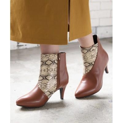 kobelettuce / マテリアルコンビポインテッドトゥショートブーツ WOMEN シューズ > ブーツ