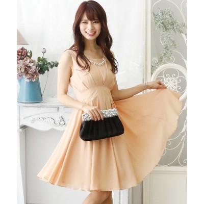 ドレス タックシフォン ロングスカート/結婚式ワンピース お呼ばれ・二次会・セレモニー大きいサイズ対応フォーマルパーティードレス