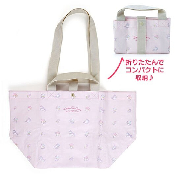 小禮堂 雙子星 船形扣式防水購物袋 環保購物袋 防水側背袋 手提袋 (粉 滿版) 4550337-50282