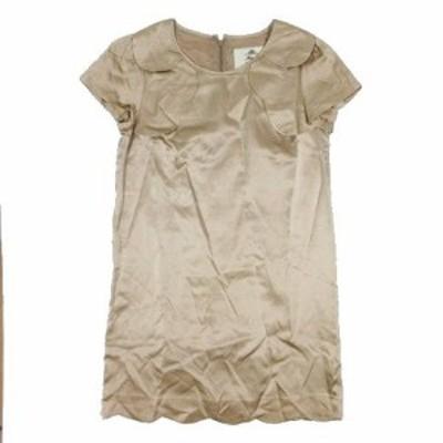 【中古】カオン Kaon サテン ワンピース 半袖 衿付き サイズS ピンク ◎B4 レディース