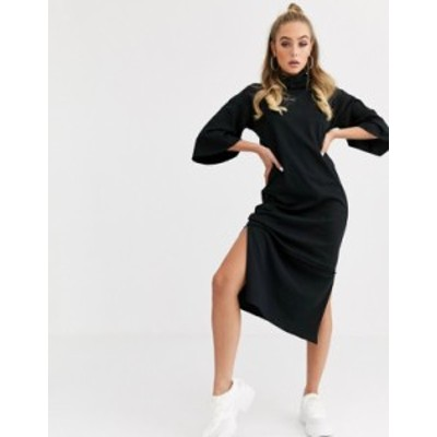エイソス レディース ワンピース トップス ASOS DESIGN cowl neck exposed seam three quarter sleeve midi dress Black
