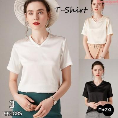半袖tシャツ レディース 春夏 無地 ゆったり トップス 40代 薄手 カットソー 新作 vネック 着痩せ 2020 おしゃれ