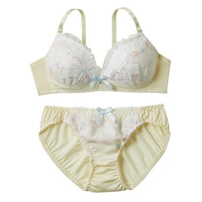 プリンセスリボンレースポップカラー ノンワイヤーブラ&ショーツ(S) (ブラジャー&ショーツセット)Bras & Panties