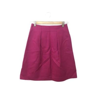 【中古】ノーリーズ Nolley's スカート 台形 膝丈 タック ウール 36 ピンク レディース 【ベクトル 古着】