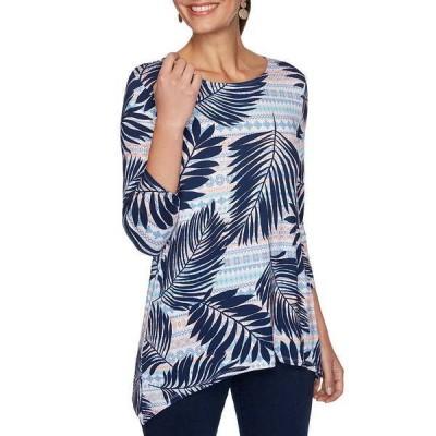 ルビーロード レディース カットソー トップス Palm Stripe Print 3/4 Sleeve Handkerchief Hem Knit Top New Navy Multi