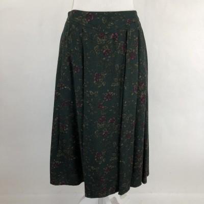 【古着】 VILONA プリーツスカート 花柄スカート ボタニカル グリーン系 レディースXL n022814