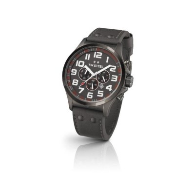 TW Steel Pilot Unisex Quartz Watch with Grey Dial Chronograph Display and Grey Leather Strap TW423 並行輸入品