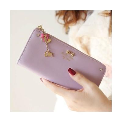 【ノーブランド品】可愛いチャーム付き長財布 レディース (紫)
