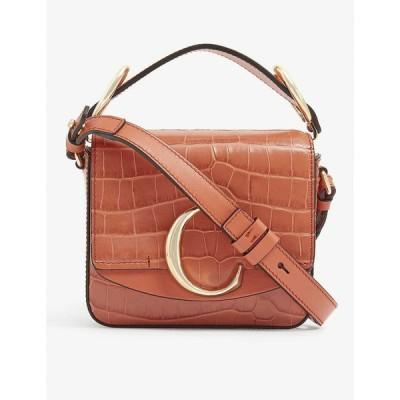 クロエ CHLOE レディース ショルダーバッグ バッグ C Toaster croc-embossed mini leather shoulder bag Tawny Orange