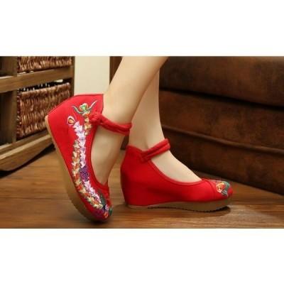 中華刺繍手作り中国靴インヒールレディースチャイナー靴中華中国靴布素材チャイナ靴北京靴痛くない朝練太極拳ダンスパンプス