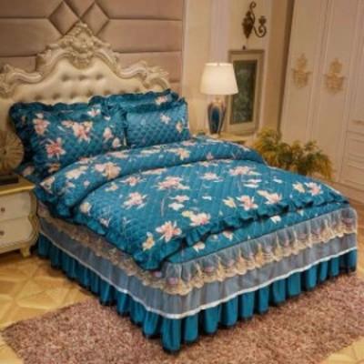 高級感ベッド用品4点セット掛け布団カバー 枕カバー ベッドパッド ワイドダブルサイズ.