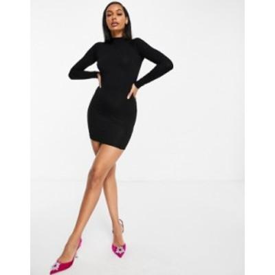 エイソス レディース ワンピース トップス ASOS DESIGN long sleeve sexy back mini dress in black Black