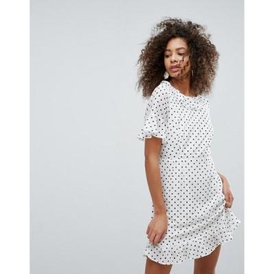 トラフィックピーポー レディース ワンピース トップス Traffic People Polka Dot Dress With Frill Hem White