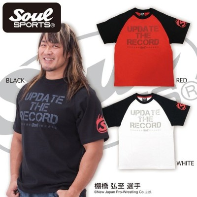 【SOUL SPORTS オリジナル】「UPDATE THE RECORD」ロゴ ラグラン 半袖Tシャツ  ホワイト/ブラック/レッド