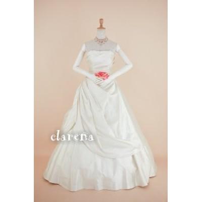 結婚式ドレス [送料込 無料] カラードレス 白 二次会 花嫁 ドレープ ウエディングドレス 9号(CLW1048)【中古】(リサイクル)