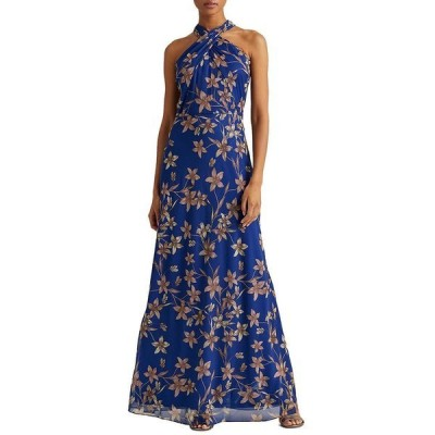 ラルフローレン レディース ワンピース トップス Halter Neck Sleeveless Floral Print Gown Portuguese Blue/Champagne