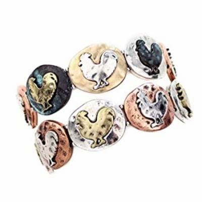 Rossi the Rooster Mixed Metal Stretch Bracelet from the WYO-HORSE JEWELRY Barnyard Collection (Patina)